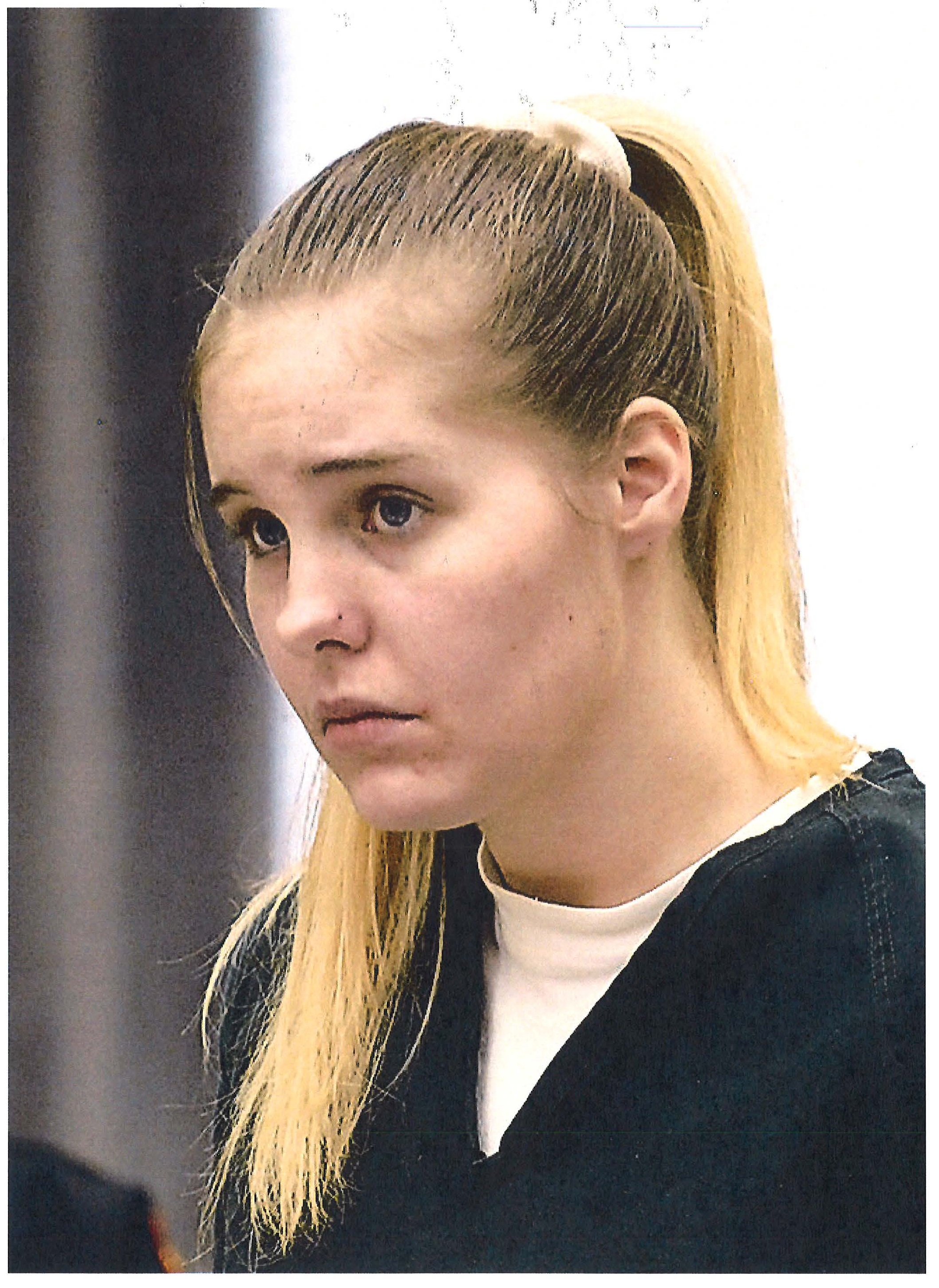 Krystal Riordan at her bail hearing after being arrested