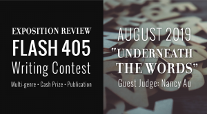"""Call for Entries: Flash 405, August 2019: """"Underneath the Words"""""""